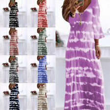Womens V Neck Maxi Dress Ladies Gradient Long Sleeve Casual Loose Boho Dresses