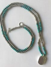 OLD PAWN NAVAJO STERLING silver BEAD AND TURQUOISE NECKLACE Gilbert Ortega