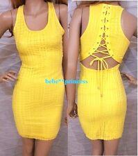 NWT bebe yellow textured lace up cutout back top dress bodycon tank M medium 6 8
