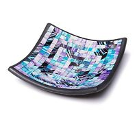 "Glass Mosaic Square Accent Plate Platter For Any Room Table Decorative 8"" in"