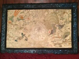 ANTIQUE CHINESE 19th c EMBROIDERED SILK PANEL 100 BIRDS EMBROIDERY 88 X 58 cm!