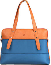 "Aimee Tote Ladies Laptop Handbag Blue/Tan Briefcase 14"" Women tagsbags Shoulder"