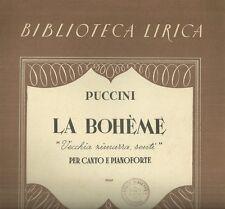 La Boheme di Puccini Vecchia Zimmarra Spartito per Canto e Pianoforte 1930