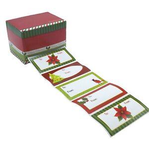Holiday Gift Tag & Dispenser Box, 120 tags Self-adhesive Christmas
