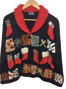 Berek 2 By Takako Sakon Womens Large Christmas Cardigan Sweater Long Sleeve Red