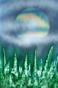 Painting of Large Landscape Moon in Tie-Dye color by Jason Girard in Medium size