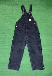 Vintage CARHARTT Quilt Lined Duck Canvas Double Knee Overalls Size 36x30 RO2 BLK