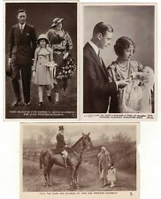 3 Real Photo Postcard Queen Elizabeth II as a Baby & Child with Parents Royalty