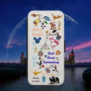 DISNEY COLLAGE DOODLE ART QUOTE FLIP WALLET PHONE CASE FOR IPHONE SAMSUNG HUAWEI