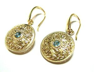 GENUINE NEW 9CT SOLID YELLOW GOLD BLUE TOPAZ FILIGREE ROUND DROP EARRINGS