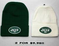 READ LISTING! New York Jets HEAT APPLIED Flat Logos on 2 Beanie Knit Cap hat