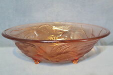 """Vintage Tiara Glass Bowl by (Indiana Glass Co.) Bird of Paradise Coral 13"""" Long"""