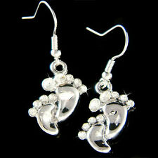 Crystal Mom New Born Earrings New Mother Baby Feet Footprint made with Swarovski