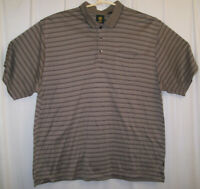 Trump Golf Polo Shirt Men's XXL 2XL Brown Black White Striped