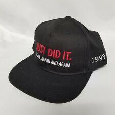 VTG 1993 NIKE AIR Just Did It Again Snap Back Hat Black Chicago Bulls Jordan