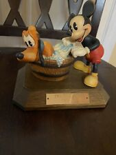 """Disney """"The Mad Dog� Mickey Mouse And Pluto Wood Carving By Anri 1931"""
