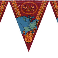 QUEST FOR CAMELOT PLASTIC FLAG BANNER ~ Vintage Birthday Party Supplies Decorate
