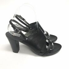 Camper Size 38 / UK5 Black Leather Slingback Peep Toes Mid Heels Sandals Shoes
