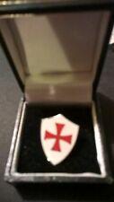 Knights Templar pin badge, lapel, tie, Maltese Cross, Crusader shield, Enamel