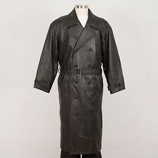 WILSONS LEATHER Men's Trench Coat Size L Large Black Removable Liner