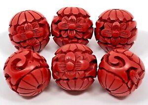 6 VTG CINNABAR BEADS PENDANTS Asian FLORAL THEME Lot of 6 Beads Size 15mm