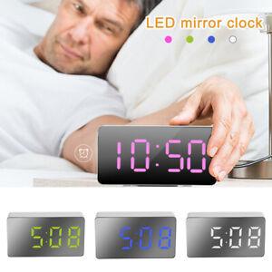 Digital Electronic Mirror Alarm Clock LED Night Light Bedside Wall Dual USB