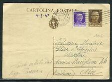 Italie - Entier postal + complément de Brescia pour Nice en 1941 D 56
