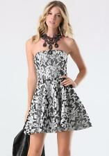 BEBE FLORAL SEQUIN EMBROIDERED MESH STRAPLESS DRESS NEW NWT $199 SMALL S 6