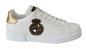 DOLCE & GABBANA Shoes Sneakers White Leather Gold Crown Logo s. EU43 / US10