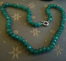 """Natural emerald 18"""" necklace.UK SELLER.Hand-knotted abacus Opaque real gem beads"""