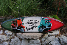 Vespa Scooter Cycle Tropical Surfboard Sign Wall Plaque Tiki Bar Wood  39