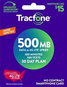 TracFone $15 Same Day Refill - 500 Minutes/500 Text/500 MB Data, fast & direct