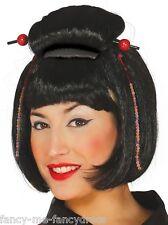 Señoras Negras Japonés Chino Oriental Bob Vestido de fantasía Traje de Disfraz Peluca peluquín