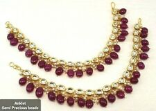 Kundan Gold Plated Feet Anklet for Women Traditional Payal/Pajeb for Indian wear
