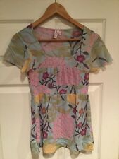 Sweet Pea by Stacy Frati Light Blue Shirt W/ Multi-Color Flowers, Size Medium