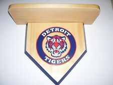 Bobble heads Detroit Tigers Home plate display shelf Handmade Natural wood