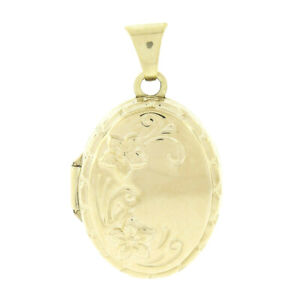 NEW Petite 14k Yellow Gold Engraved & Embossed Floral Work Oval Locket Pendant