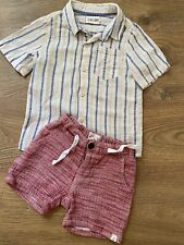 Me & Henry Boys red shorts & button up shirt set size 2/3 soft