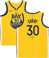 Stephen Curry Golden State Warriors Signed Gold 2019-20 The Bay Swingman Jersey