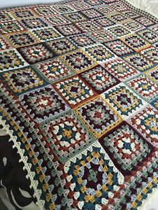 New Handmade Large  Vintage Style Crocheted Granny Blanket 65 Inches Squared