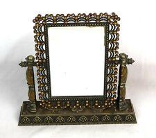 Vintage Ornate Table Top Brass Vanity Mirror Enameled with Jewels Tilting