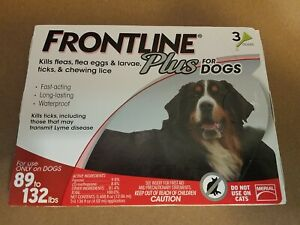 Frontline Plus  XL Dogs 89-132 lbs Flea and Tick Treatment  Dogs 3 Doses