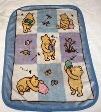 Vtg Classic Winnie the Pooh Blue Luxury Plush Fleece Baby Blanket Hunny Pots