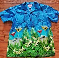 Vintage RJC Hawaiian Aloha Shirt  XL Short Sleeve Floral Martinis Cocktails18-19