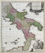 c1730 Neapel Golfo di Napoli Süditalien Campania Calabria Kolorierte Landkarte