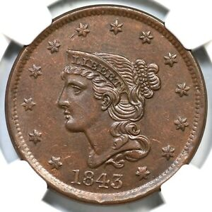 1843 N-3 R-3 NGC AU 55 Petite Head Sm Let Braided Hair Large Cent Coin 1c