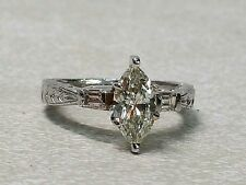 Platinum Ring with marquise Cut Natural Diamond