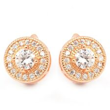 Rose Gold Filled Clear Cubic Zircon Women's Hoop Earrings With Gift Box