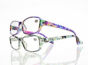 Fashion Women Cyan Rainbow Leaves & Flowers Resin Lens Reading Glasses +1.0~+4.0