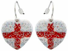 10 St Georges England Flag Heart Shaped Earrings for Pierced Ears Red & White